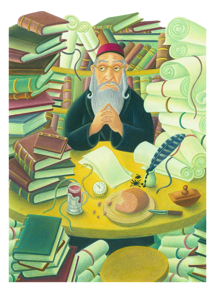 Never Too Quiet Gallery. Illustration 2 'Rabbi Pinchas looked longingly at his books'