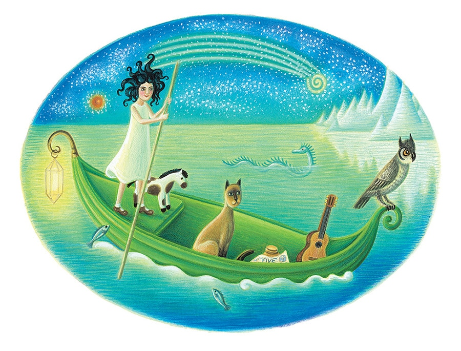 Out of This World: The Surreal Art of Leonora Carrington Gallery. Illustration 4 'Young Leonora with her friends in their pea green boat' (Pixel dimensions available w2876 x h2179)