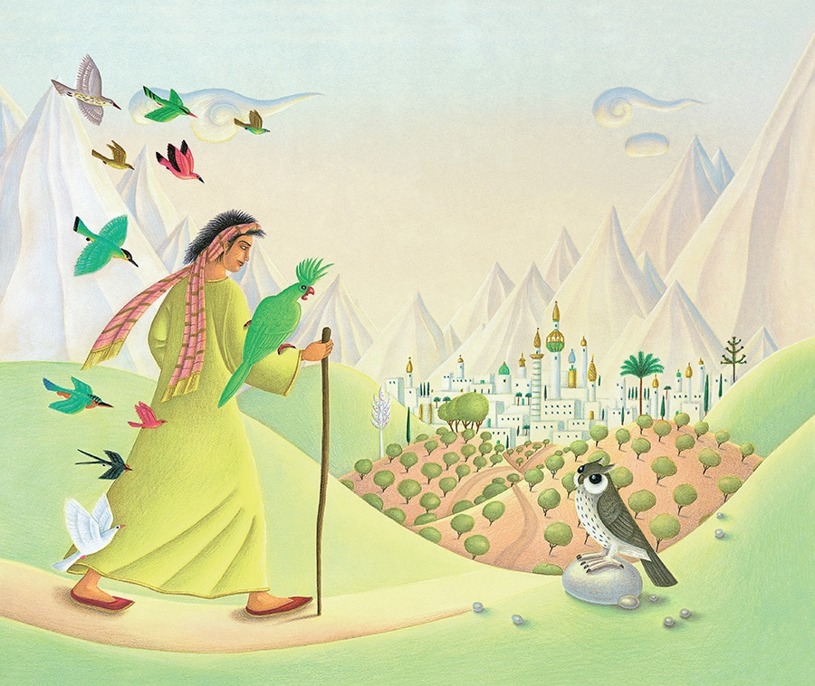 Prince of the Birds Gallery. Illustration 1 'Cover, Prince Ahmed walking towards The Kingdom of the Mountains' (Pixel dimensions available w3591 x h3024 includes bleed)