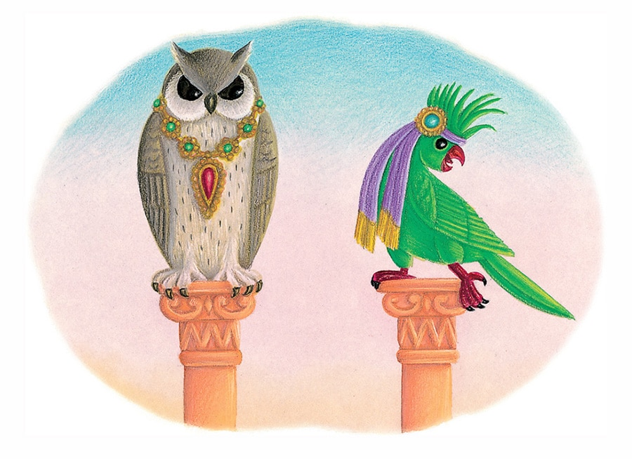 Illustration 32 'The Owl and the Parrot' (Pixel dimensions available w1432 x h1040)