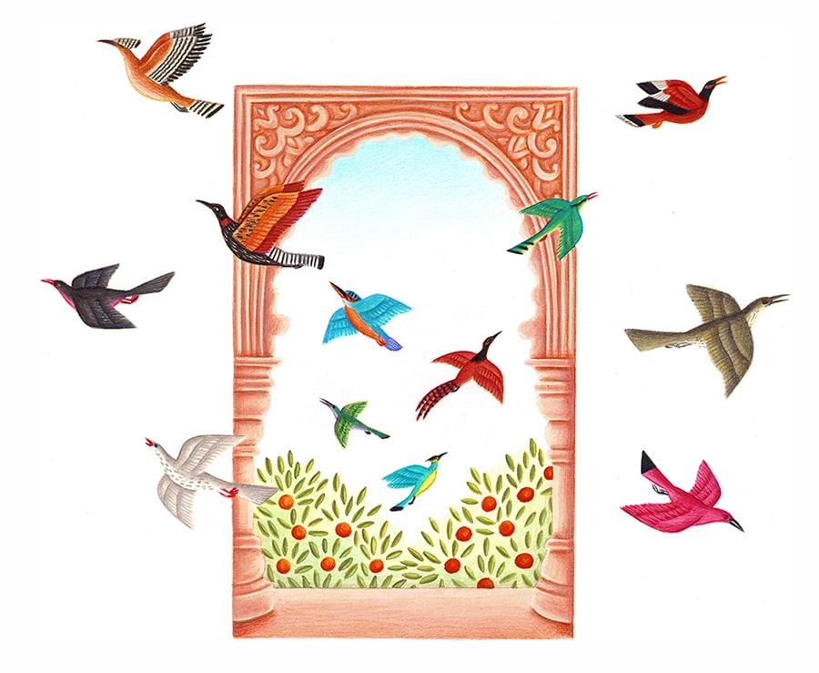 Prince of the Birds Gallery. Illustration 4 'Title page, birds fly out of an open window' (Pixel dimensions available w2266 x h1860)