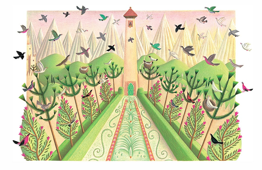 Prince of the Birds Gallery. Illustration 9 'Ahmed was awoken by joyful birdsong' (Pixel dimensions available w3164 x h2054)
