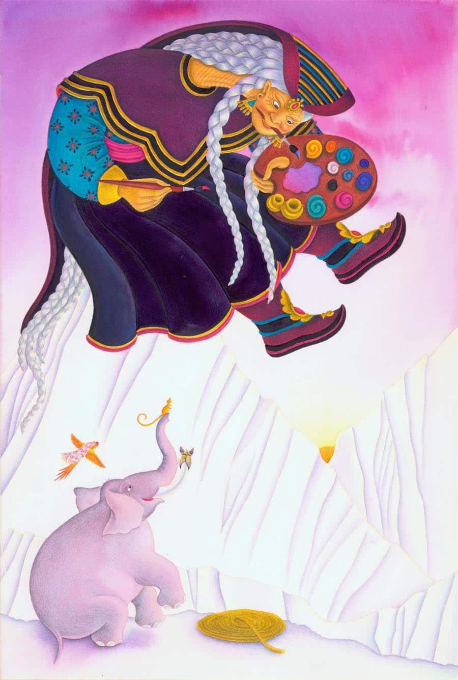"Robi Dobi by Madhur Jaffrey Gallery. Illustration 4 ""I have plenty of time,"" Kamala-Saurus the Sky Painter said' (Pixel dimensions available w2760 x h4088)"