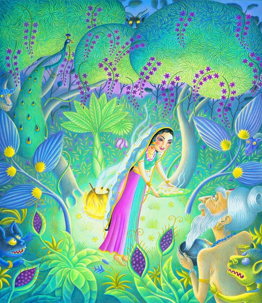 Illustrations for Children's Picture Books 6 SITA & RAVANA (Pixel dimensions available w7065 x h8171)