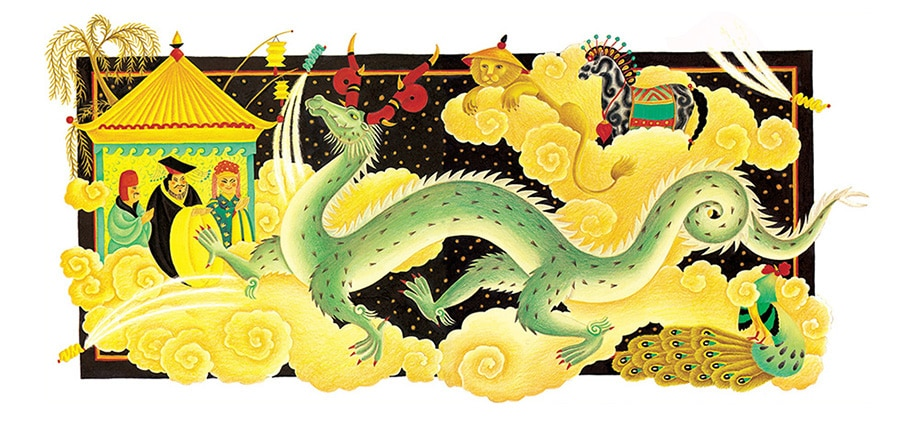 'The Barefoot Book of Animal Tales Gallery. Illustration 2 'The Dragon and the Cockerel, at the New Year celebrations'