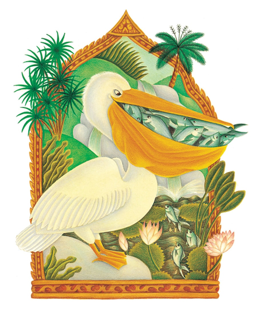 Illustration 6 from Animal Tales. 'From Never Trust a Pelican, the Pelican eating all the fish'