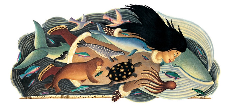 The Barefoot Book of Animal Tales Gallery. Illustration 8 'From Sedna and King Gull, Sedna, the Mother of the Oceans'