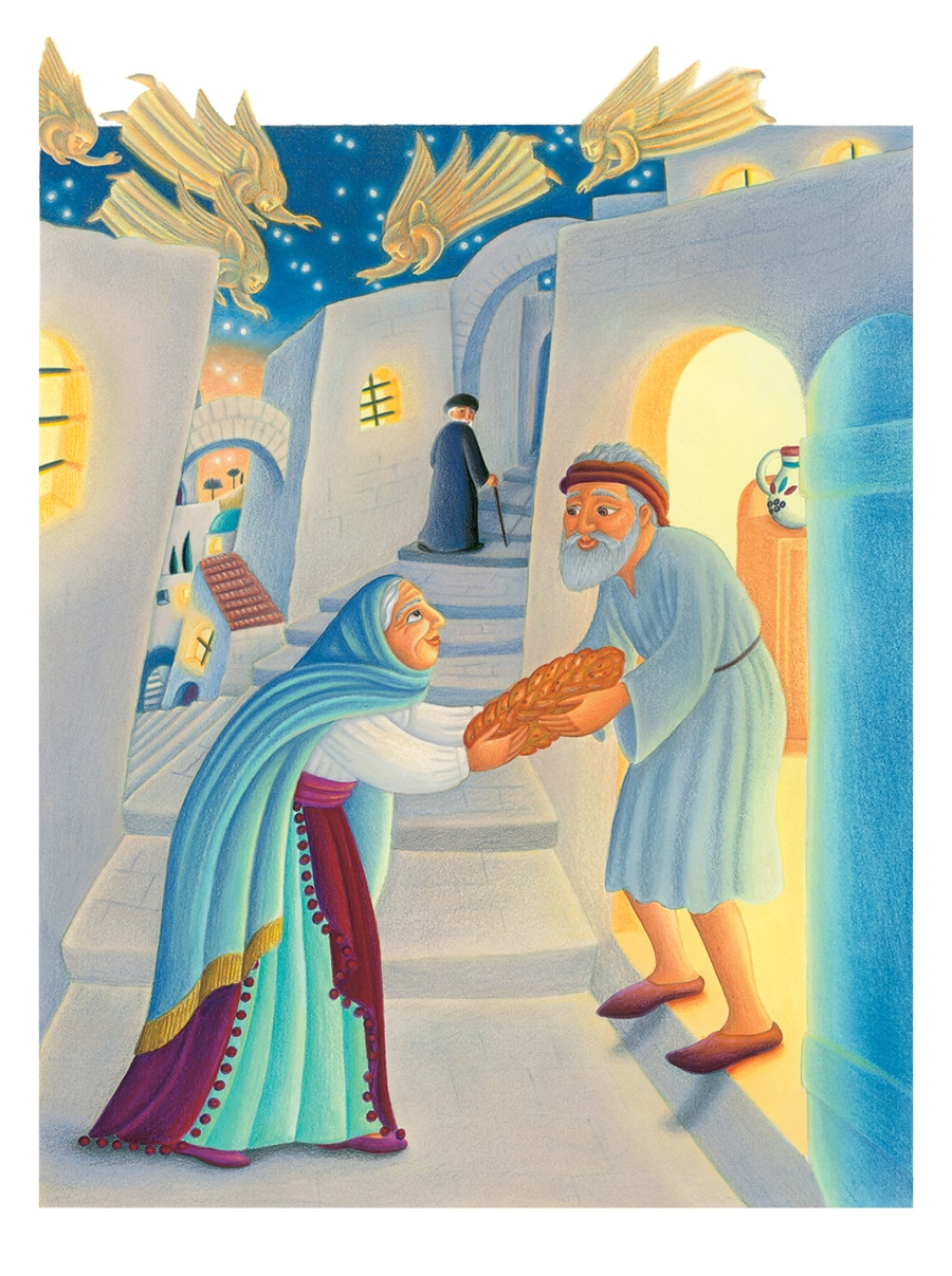 Illustration 5 from Jewish Tales. 'Eliana gives Challah to Samuel'