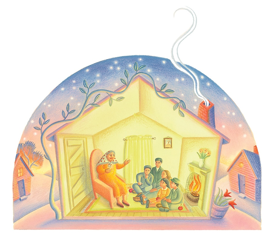 Illustration from Jewish Tales. Illustration 6 'Ariella's small and simple house was always full of visitors'