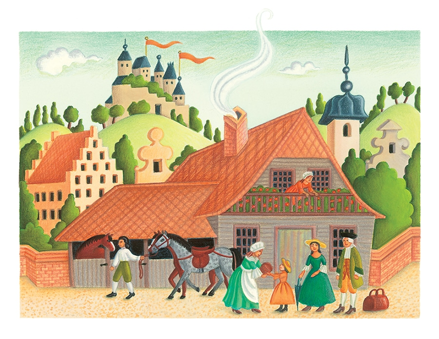 Illustration 7 from Jewish Tales. 'Everyone who visited the inn appreciated Rachel's special gifts'