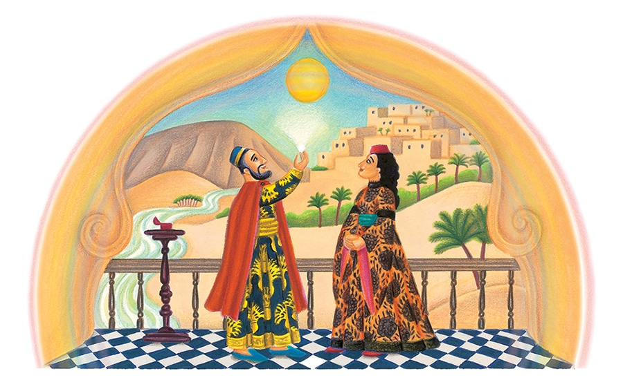 The Barefoot Book of Jewish Tales Gallery. Illustration 8 'The King and the Princess admiring the diamond'