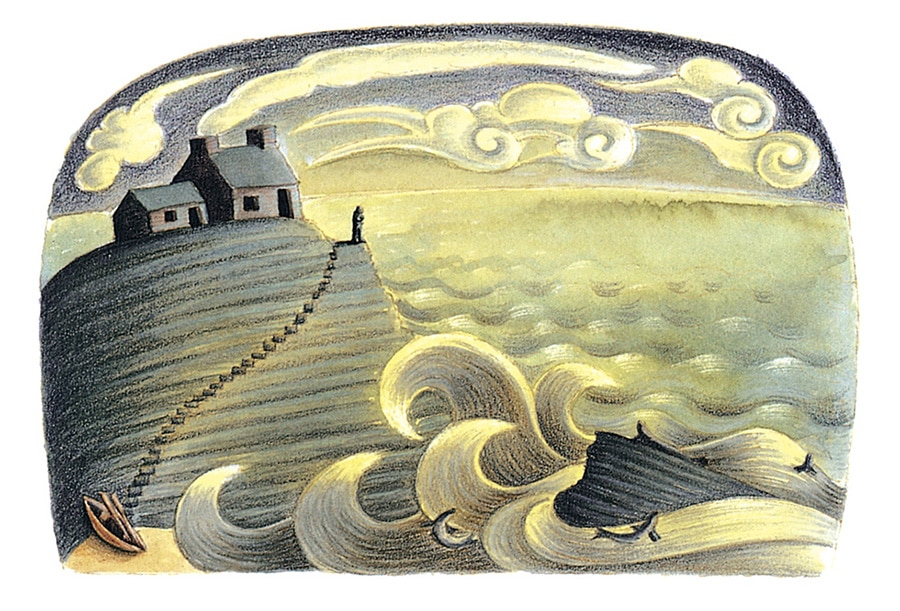 The Barefoot Stories from the Sea Gallery. Illustration 3 'From The Selkie Wife, the lonely fisherman' (Pixel dimensions available w1636 x h1109)