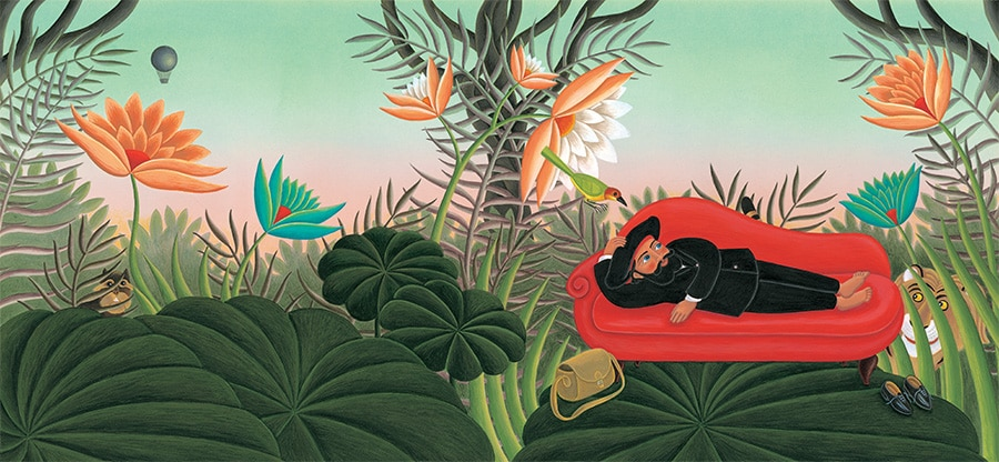 The Fantastic Jungles of Henri Rousseau Gallery. Illustration 1 'Cover, Henri Rousseau lying on a chaise longue in a dream jungle' (Pixel dimensions available w6875 x h3179 includes bleed)