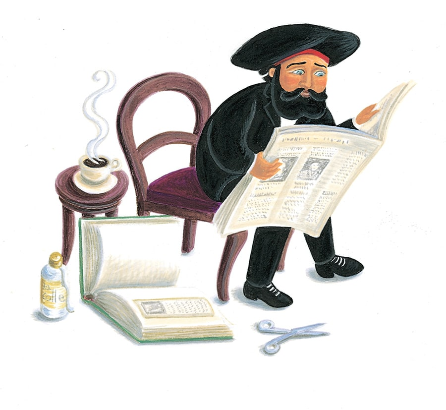 Illustration 12 'Henri Rousseau reads the mean reviews of his work' (Pixel dimensions available w1205 x h1040)