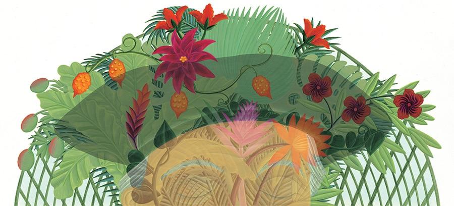 Illustration 18 'Jardin des Plantes in Paris, is in Henri Rousseau's head' (Pixel dimensions available w5597 x h2751 includes bleed)