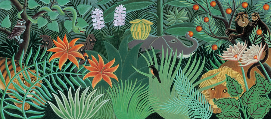 The Fantastic Jungles of Henri Rousseau Gallery. Illustration 2 'Henri' Rousseau's fantastic jungle with lion, tiger, elephant and monkeys peeping out' (Pixel dimensions available w6205 x h2734 includes bleed)