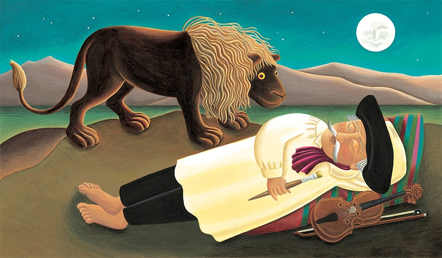 Illustration 20 'Based on Henri Rousseau's painting 'The Sleeping Gypsy' (Pixel dimensions available w4622 x h2717 includes bleed)