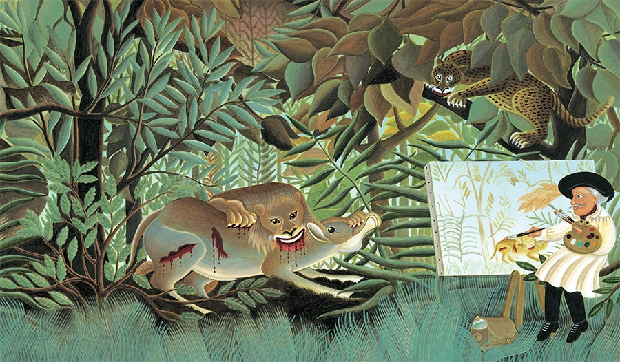 The Fantastic Jungles of Henri Rousseau Gallery. Illustration 23 'Henri Rousseau paints an imagined jungle' (Pixel dimensions available w4628 x h2713 includes bleed)