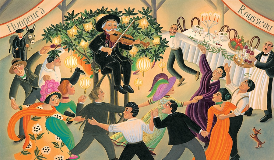 Illustration 26 'Henri Rousseau playing the fiddle at a party held in his honour' (Pixel dimensions available w4625 x h2710 includes bleed)