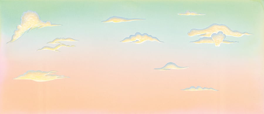 Illustration 4 'Henri Rousseau style sky' (Pixel dimensions available w6205 x h2701 includes bleed)