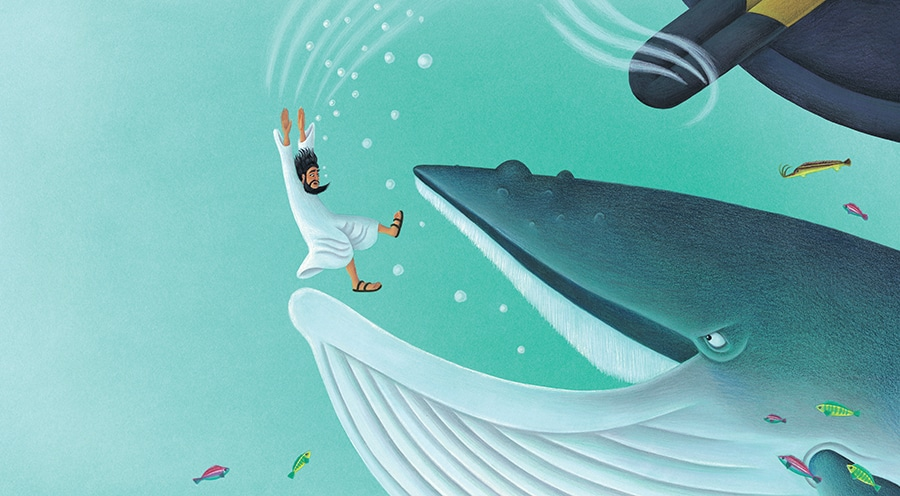 The Hard to Swallow Tale of Jonah and the Whale Gallery. Illustration 11 'Jonah sank beneath the waves' (Pixel dimensions available w5362 x h2953 includes bleed)