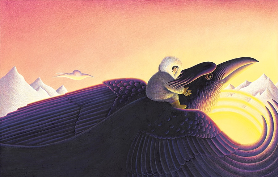 The Stolen Sun Gallery. Illustration 1 'Cover, Raven flying with Little Darkness on his back' (Pixel dimensions available w6697 x h4272 includes bleed)