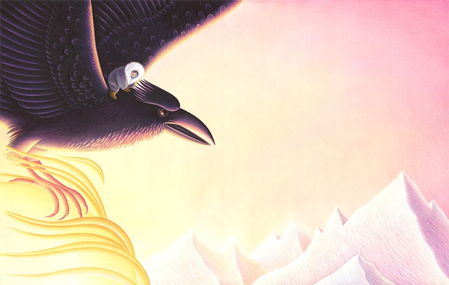 Illustration 19 'Raven flew to the sun and grabbed it firmly' (Pixel dimensions available w6063 x h3858 includes bleed)