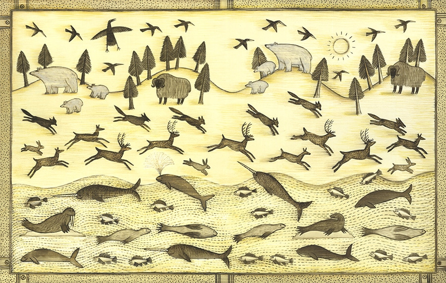 The Stolen Sun Gallery. Illustration 2 'Endpapers for The Stolen Sun, Arctic animals'  (Pixel dimensions available w6063 x h3858 includes bleed)