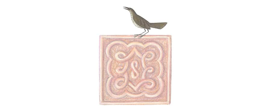 Prince of the Birds Gallery. Illustration 12b 'Bird motif 5' (Pixel dimensions available w243 x h329)