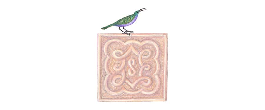 Prince of the Birds Gallery. Illustration 19a 'Bird motif 7' (Pixel dimensions available w243 x h321)