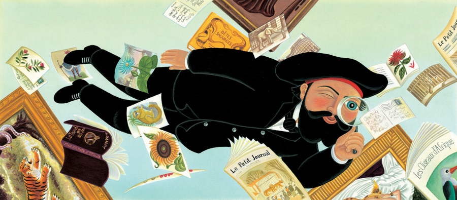 Illustration 10 'Henri Rousseau the painter, floating through the air, examining his favourite paintings' (Pixel dimensions available w6215 x h2734 includes bleed)