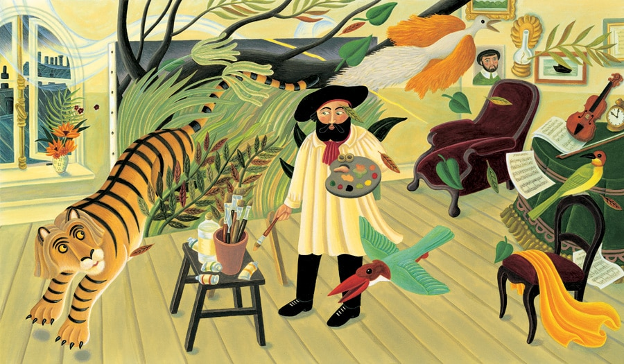 The Fantastic Jungles of Henri Rousseau Gallery. Illustration 14 'Henri painting in his studio. He can see the jungle right in front of his eyes' (Pixel dimensions available w4626 x h2705 includes bleed)