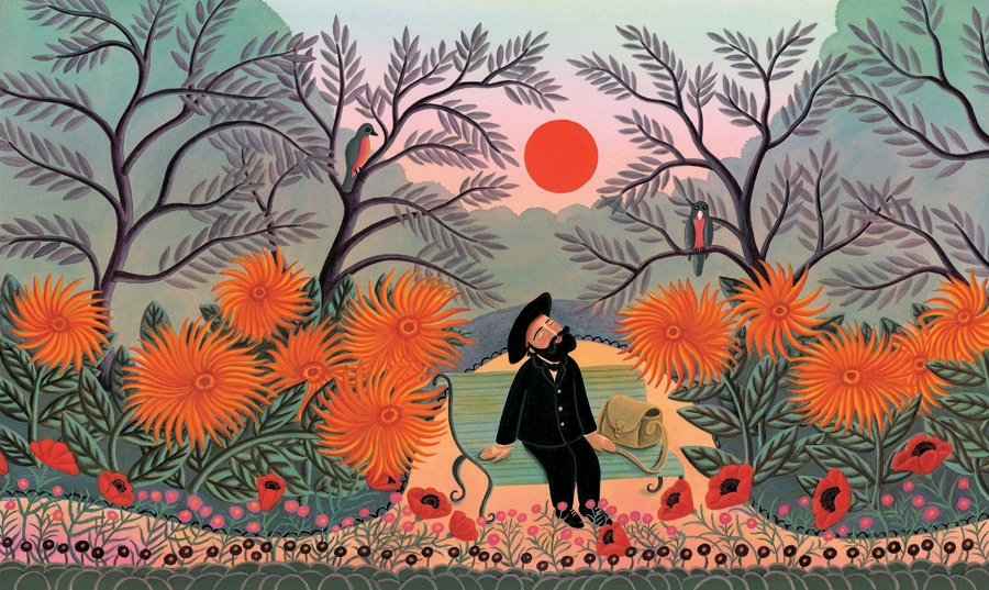 The Fantastic Jungles of Henri Rousseau Gallery. Illustration 9 'Henri Rousseau sits in the park, under the blushing ruby red sun' (Pixel dimensions available w4635 x h2737 includes bleed)