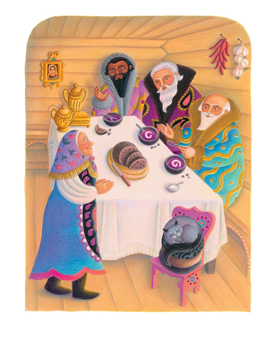 Babushka by Dawn Casey Gallery. Illustration 8 'Babushka talks to the three wise men' (Pixel dimensions available w2089 x h2727)