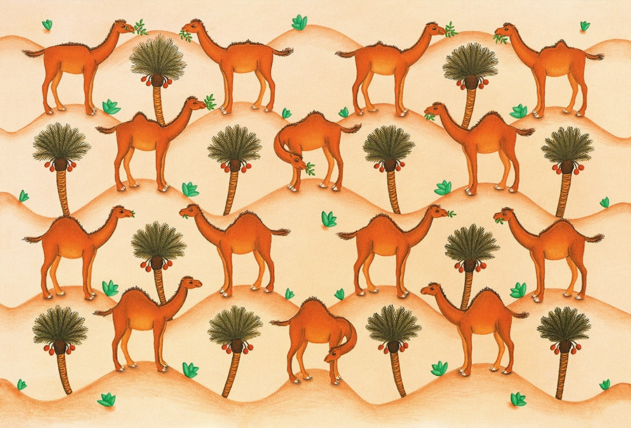 How the Camel got his Hump Gallery. Illustration 1 'Endpapers, the Humphing Camel' (Pixel dimensions available w4900 x h3325 includes bleed)