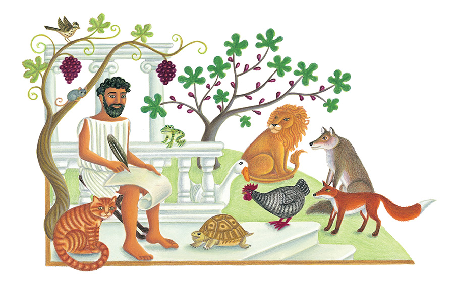 The Lion Classic Aesops Fables Gallery. Illustration 1 'Aesop with animals' (Pixel dimensions available w1937 x h1212)