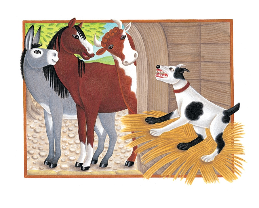 The Lion Classic Aesops Fables Gallery. Illustration 18 'The Dog in the Manger' (Pixel dimensions available w1830 x h1342)