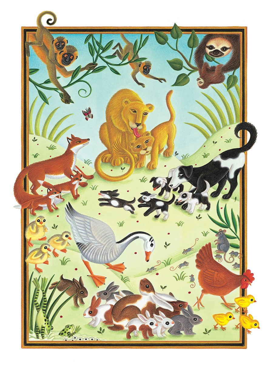 The Lion Classic Aesops Fables Gallery. Illustration 24 'From The Lioness, the Lioness and baby animals' (Pixel dimensions available w1901 x h2607)