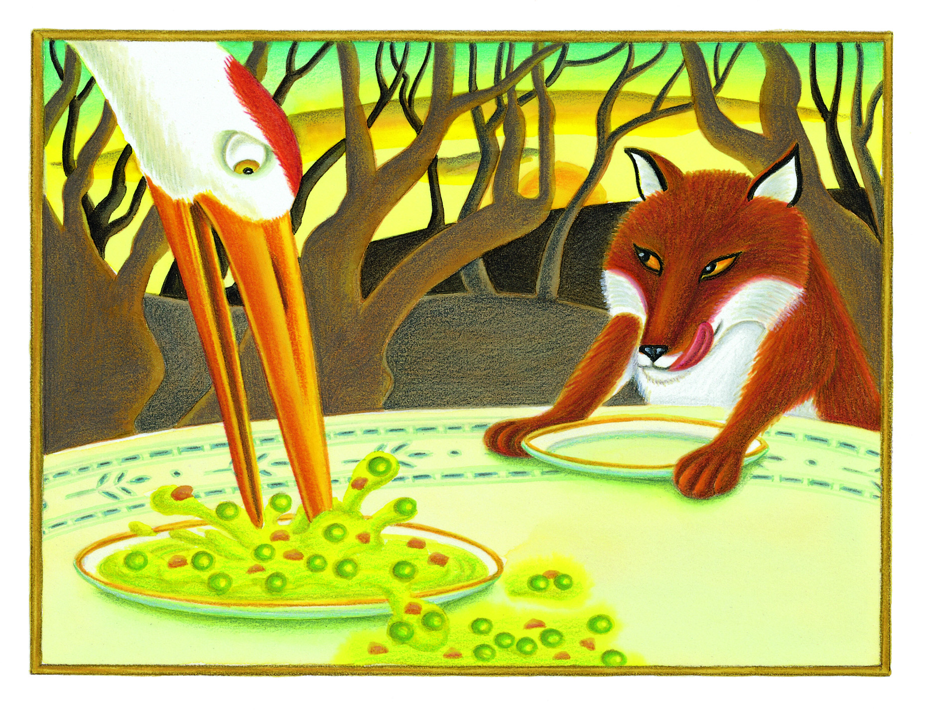The Lion Classic Aesops Fables Gallery. Illustration 30 'The Fox and the Crane' (Pixel dimensions available w1772 x h1304)