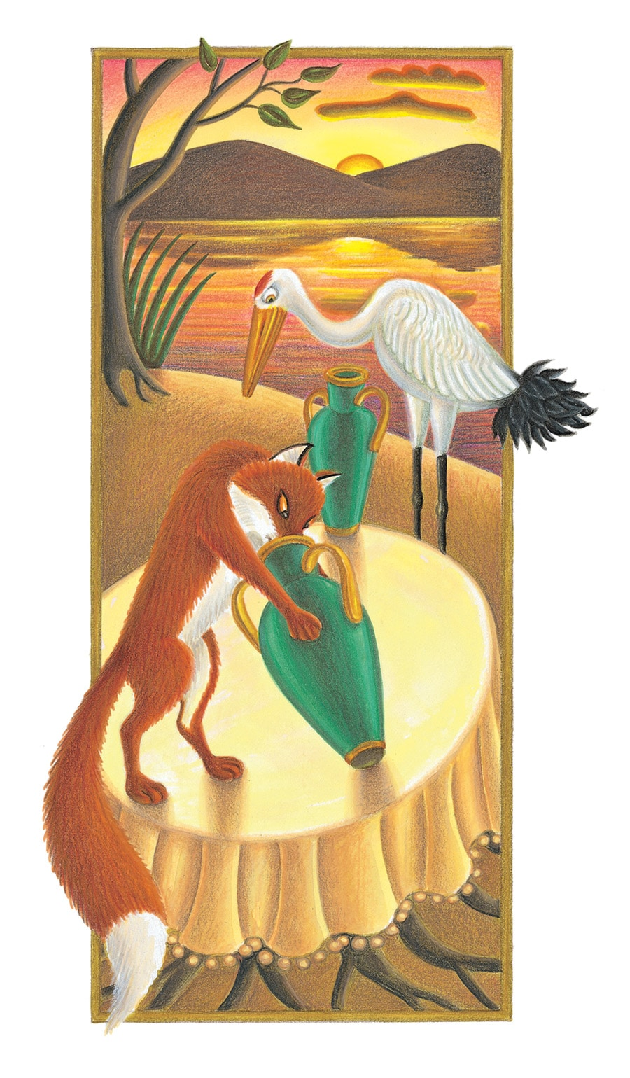 Illustration 31 'The Fox and the Crane' (Pixel dimensions available w1201 x h2154)