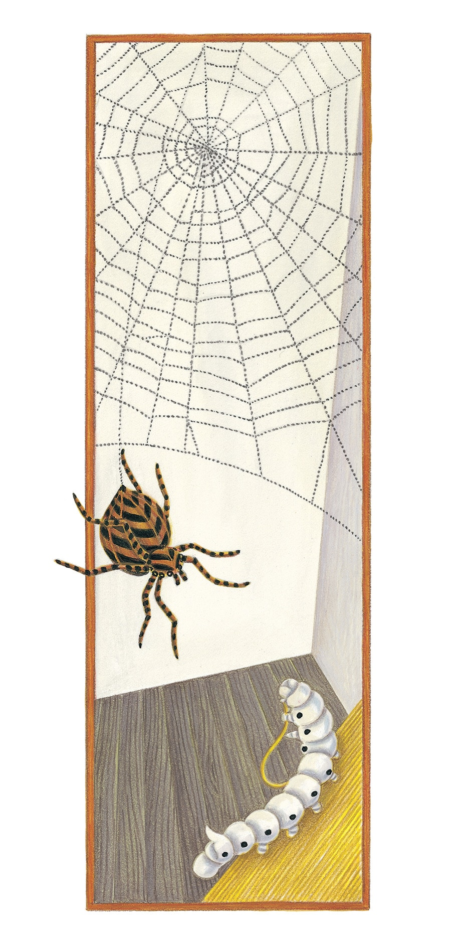 The Lion Classic Aesops Fables Gallery. Illustration 33 'The Silkworm and the Spider' (Pixel dimensions available w1131 x h3117)