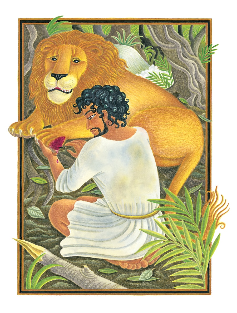 The Lion Classic Aesops Fables Gallery. Illustration 35 'Androcles and the Lion' (Pixel dimensions available w2479 x h3133)