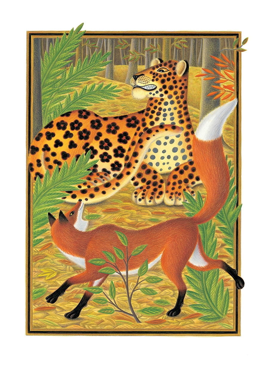 The Lion Classic Aesops Fables Gallery. Illustration 41 'The Fox and the Leopard' (Pixel dimensions available w1831 x h2572)