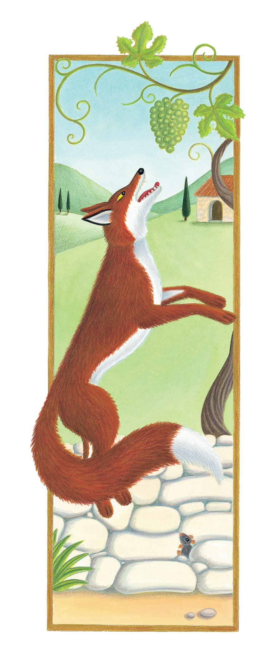 The Lion Classic Aesops Fables Gallery. Illustration 44 'The Fox and the Grapes' (Pixel dimensions available w923 x h2610)