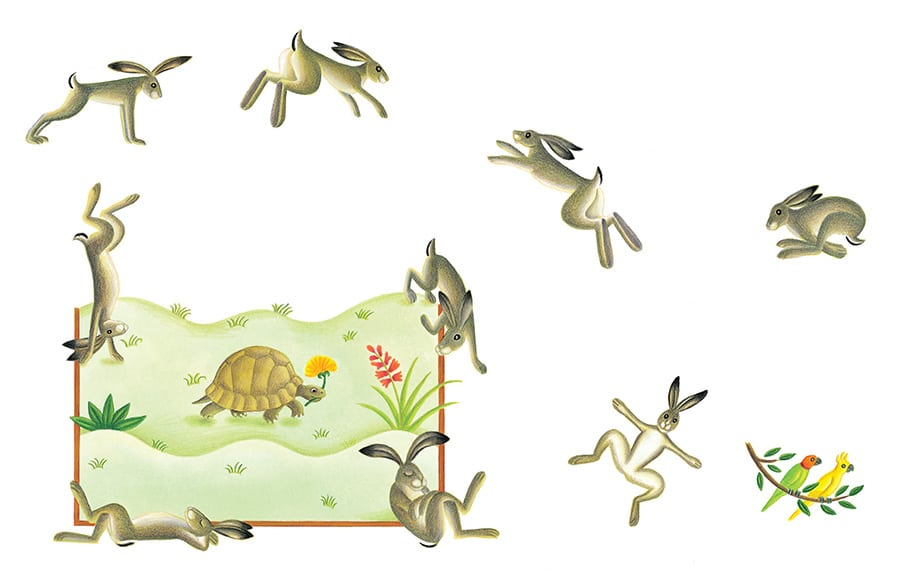 The Lion Classic Aesops Fables Gallery. Illustration 7 'The Hare and the Tortoise' (Pixel dimensions available w3535 x h2191)