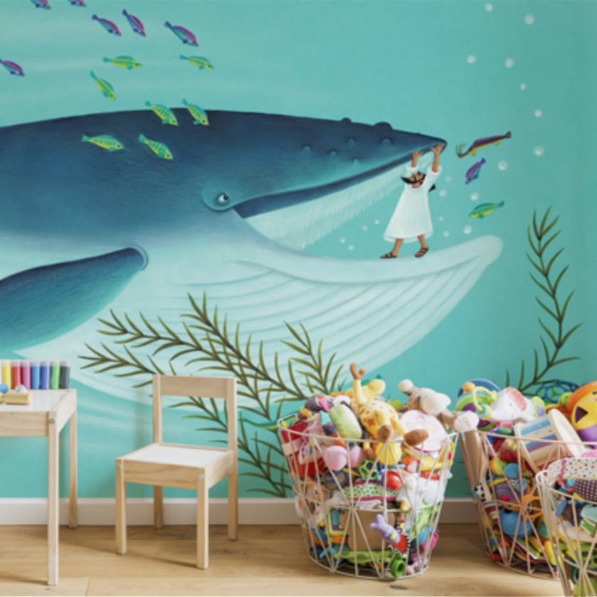 Wall Mural for Playroom 'Jonah and the Whale'